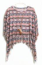 Pink Bead Striped Tassel Loose Crop T-Shirt $30.32