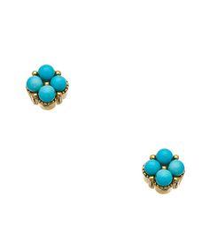 Harrison Morgan Gold plate and Turquoise Stud Earrings #maxandchloe
