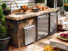 56 Awesome Outdoor Kitchen Designs : 56 Awesome Outdoor Kitchen Designs With White Kitchen Wall Table Sink Oven Stove Grill Machine Orange Juice And Flower Decor And Stone Floor Design