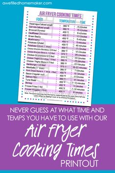Air Fryer Cooking Time Sheet