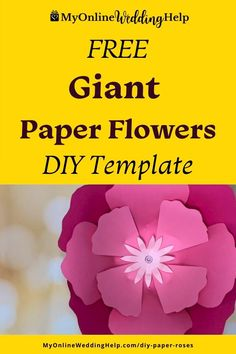 Free paper flowers DIY template and tutorial. This giant rose like flower is ideal for fun craft project. Or wedding decor. See the full step-by-step instructions and a downloadable template on the MyOnlineWeddingHelp.com blog. Paper Flowers Wedding, Giant Paper Flowers, Fabric Flowers, Anniversary Decorations, Wedding Decorations, Wedding Crafts, Diy Wedding, Floral Backdrop, Theme Parties