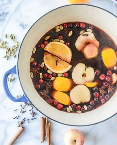 Mulled Red Wine with orange, apple cider, cinnamon, and maple.