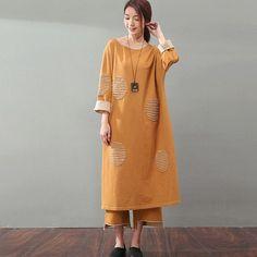Loose Long-Sleeve Cotton Dress
