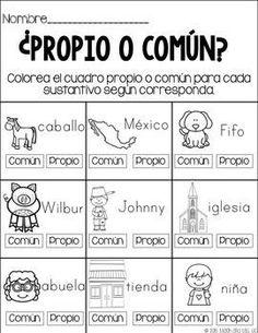 Sustantivos propios y comunes.