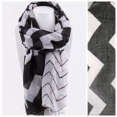 """Black & White Chevron Graduated Print Scarf Black & white graduated pattern scarf.   100% polyester.   Sure to dress up even your most basic outfit!  Please check my closet for many more scarves and clothing items.   ‼️️PRICE FIRM UNLESS BUNDLED‼️ Length 74""""  Width 42"""" Fashion Accessories Accessories Scarves & Wraps"""