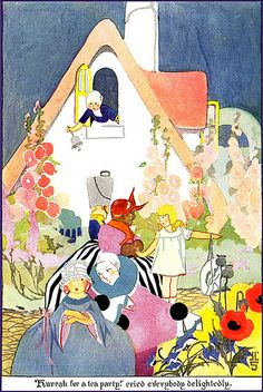 """""""'Hurrah for a tea party' cried everybody delightedly."""" Illustration by Janet Laura Scott for """"The Princess of Cozytown"""" in 'Cozy Cottage in Cozyland' by Ruth Plumly Thompson, Volland Publishing, 1922."""