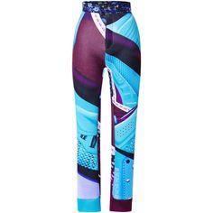 Mary Katrantzou Quixsuit Scuba Trousers (11,875 CNY) ❤ liked on Polyvore featuring pants, print pants, blue print pants, slim trousers, blue pants and colorful pants