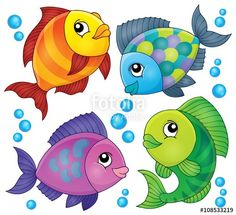 Fish topic image 2 - Buy this stock vector and explore similar vectors at Adobe Stock Easy Fish Drawing, Sea Drawing, Fish Drawings, Art Drawings For Kids, Cartoon Drawings, Art For Kids, Fish Drawing For Kids, Drawing Sketches, Cartoon Sea Animals