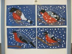 Puikot ja pulpetti Christmas Art, Winter Christmas, January Art, 4th Grade Art, Snow Art, Winter Project, Easy Art Projects, Bird Theme, Art Lessons Elementary