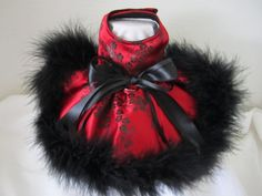 Dog Dress XS  red with black  Brocade With  by NinasCoutureCloset, $30.00