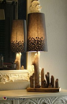Very cute driftwood lamp from the shade to the clever use of the various pieces.