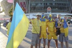 DONETSK, UKRAINE - JUNE 19, 2012: Ukrainian Fans Before The Match.. Royalty Free Stock Photo, Pictures, Images And Stock Photography. Image 14146571.