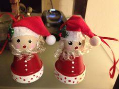 Santa clay pot ornament