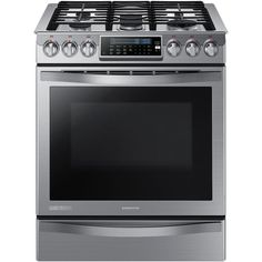 Samsung Chef Collection 30 in. 5.8 cu. ft. Slide-In Gas Range with Self Cleaning Convection Oven in Stainless Steel-NX58H9950WS at The Home Depot