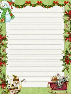 Free Printable Santa Letters, Printable Lined Paper, Free Christmas Printables, Christmas Letterhead, Christmas Stationery, Christmas Paper, Christmas Images, Christmas Crafts, Free Printable Stationery