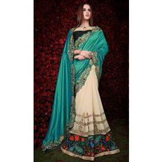 Captivating Cream and Rama Green Saree