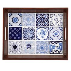 Blue and White Porcelain Tile Tray