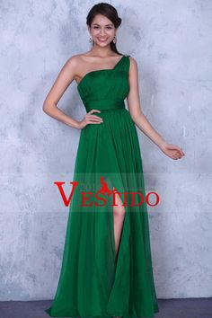 2016 vestidos de honor Una línea de un hombro gasa con volantes y de hendidura