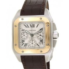 CARTIER SANTOS 100 W20091X7 IN GOLD AND STEEL Cartier Santos 100, Roman Numerals, Square Watch, Automatic Watch, The 100, Sapphire, Steel, Watches, Silver