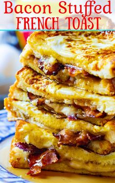 Bacon Stuffed French Toast - the ultimate sweet and savory breakfast. French Toast Sandwich, French Toast Waffles, French Toast Casserole, Stuffed French Toast, Breakfast Slider, Breakfast Bagel, Best Breakfast, Bacon Breakfast Sandwiches, Crepes