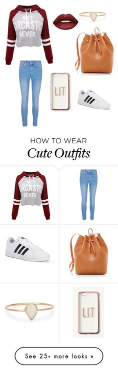 """""""Cute lazy day outfit"""" by brookeyd2002 on Polyvore featuring Catbird, Mansur Gavriel, WithChic, adidas, Missguided and Lime Crime"""