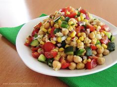 corn & chickpea fiesta salad with cilantro-lime vinaigrette -- just sounds good for you!