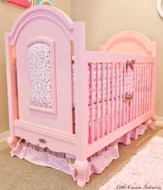 """Hope"" Pink Crib for Baby Girl. For every ""Hope"" Crib sold, Little Crown Interiors and Newport Cottages will make a donation to Breast Cancer . Cottage Furniture, Baby Furniture, Furniture Ideas, Pink Love, Pretty In Pink, Perfect Pink, Pale Pink, Newport Cottages, Pink Crib"