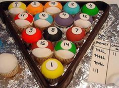Pool balls cupcakes