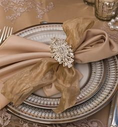 So Elegant ~ Love the Ribbon intermixed & the Gorgeous Napkin Ring~On a Shee,r Net Lace Table Cloth~❥