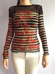 Vintage Jean Paul Gaultier sheer mesh top vtg Gaultier Maille Femme  embroidered stretch striped sheer JPG tattoo top
