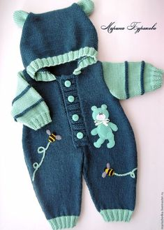 Baby Knitting Patterns Clothes Für die kalten Tage strickst D Fair of Masters - handmade. Buy Overalls with Mishutka . Combined, knitting to order, Italian yarnKnitting Patterns Boy For the cold days knit DElly in her fall outfit.This Pin was discov Baby Knitting Patterns, Knitting For Kids, Baby Patterns, Knitting Yarn, Crochet Patterns, Knitting Projects, Sweater Patterns, Cardigan Pattern, Knitting Charts