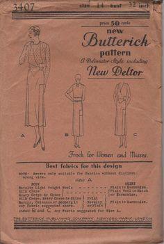 1920's Misses' Dress/Frock Butterick Deltor 3407 Size 14 Bust 32