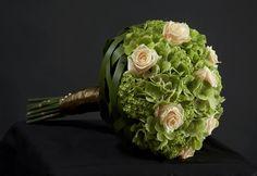 Green and cream bouquet. Unknown designer.