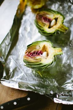 Lemon and Garlic Roasted Artichokes - A Thought For Food