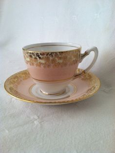 vintage pink and gold teacup and saucer on etsy