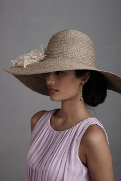 Ladies Church Kentucky Derby Wedding Party Wide Brim Dress Party White Flax hat@