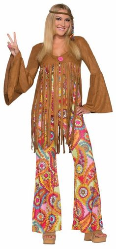 Groovy Sweetie 60s Hippie Costume - The Costume Shoppe. Peace out in this cute Groovy Sweetie hippie 60s costume.   This 60s inspired costume is a one piece jumpsuit with an awesome flower pattern. It ties as a halter with a little bow on the front and flared legs. The faux suede jacket has a large pink button and fringe starting at the underbust. You can wear it with or without the jacket.   Spread some peace and love. Add some great accessories to finish the Hippie look.