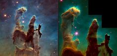 Hubble Makes 'Pillars Of Creation' Look Better Than Ever by ELIZABETH HOWELL on JANUARY 6, 2015 The Eagle Nebula's pillars of creation taken in 1995 (right) and 2014. The new image was obtained with the Wide Field Camera 3, installed by astronauts in 2009. Credit: Left: NASA, ESA/Hubble and the Hubble Heritage Team. Right:  NASA, ESA/Hubble, STScI, J. Hester and P. Scowen (Arizona State University)