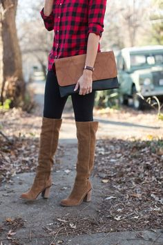 Trends- Buffalo Plaid & Over The Knee Boots