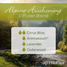 Awaken to a crisp mountain morning with this aromatic blend of Citrus Bliss, Aromatouch®, Lavender, and Cedarwood. This blend will help refresh your senses and will be diffused all week in the dōTERRA Spa.