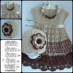 Crochet Pretty Dress and Cap with Free Pattern