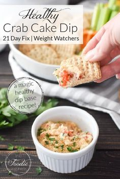 This healthy Crab Cake Dip is so delicious and perfect for game night, the holidays, lent or valentine's day! Plus it's packed with protein for sneaky-healthy snacking! #21dayfix #UPF #weightwatchers #snacking #holiday #christmas #thanksgiving #gameday #healthygameday #ww #healthy #healthysnack #weightloss #valentinesday #lent #christmaseve #feastofthesevenfishes Healthy Crab Cakes, Healthy Dips, Healthy Appetizers, Healthy Recipes, Sweets Recipes, Healthy Choices, Healthy Eating, Crab Dip Recipes, Seafood Recipes