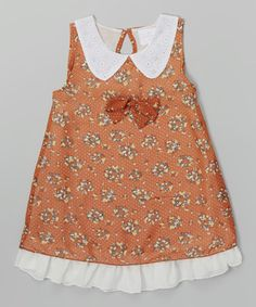 Loving this Orange Floral Rounded Collar Dress - Infant, Toddler & Girls on #zulily! #zulilyfinds