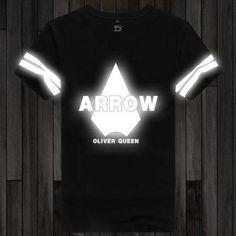 ROXINYUEHU New Fashion Green Arrow T shirt Summer Unisex Printed Reflective Short Sleeve T-shirt DT002