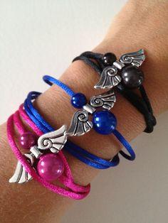 Armbandjes van satijnband met geluksengeltje! Omdat geluk vele vormen kent!