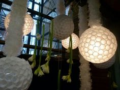 These sparkleballs are part of the decor in an Australian coffee shop. Coffee Shop, Table Lamp, Display, Inspiration, Home Decor, Coffee Shops, Floor Space, Biblical Inspiration, Coffeehouse