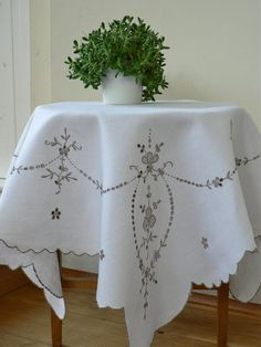 Vintage Tablecloth Madeira Embroidery by fitzroyandcole on Etsy