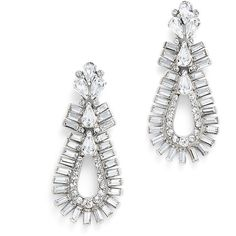Rental Ben-Amun Clearly Earrrings ($45) ❤ liked on Polyvore featuring jewelry, earrings, clear crystal jewelry, ben amun earrings, teardrop earrings, silver plated earrings and clear earrings