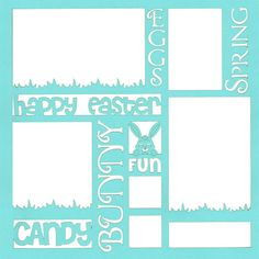 Easter Words 12 x 12 Overlay Laser Die Cut (€4,39) ❤ liked on Polyvore featuring backgrounds, frames, borders, pictures and picture frame