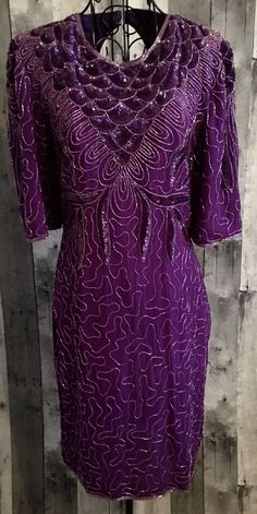 Ultra Design Purple 100% Silk Sequin Beaded Dress Knee Length Size Small #UltraDesigns #StraightandFitted